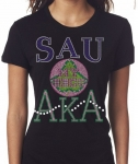 SAINT AUGUSTINE'S UNIVERSITY/AKA- MY HBCU BLACK Chapter Bling T-Shirt (Sizes small - x-large)