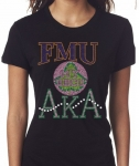 FLORIDA MEMORIAL/AKA- MY HBCU BLACK Chapter Bling T-Shirt (Sizes 2x-large-3x-large)