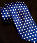 Royal Blue & White Polka Dot Necktie/pocket square