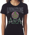 LIVINGSTONE COLLEGE/AKA- MY HBCU BLACK Chapter Bling T-Shirt (Sizes 2x- 3x large)