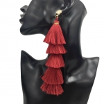 Long red 5 tiered fringe Tassel earrings