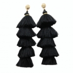 Long black 5 tiered fringed tassel earrings.