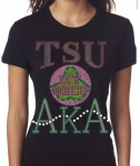 TEXAS SOUTHERN UNIVERSITY/AKA-My School of Higher Ed. - Black Bling T-shirt (sizes small - x-large)