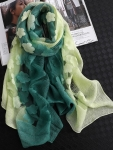 Two- Tone Light and Kelly Green ORGANZA SILK Shawl/ Pashmina-Only 6 in stock