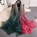 Elegant Over sized Silk  Dark Pink, Gray and  Dark Green Shawl-Only 3 in stock