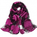 Black and Fushia SHEER ORGANZA  Scarf