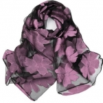Black and Lavender SHEER ORGANZA  Scarf-Limited Quantity