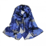 Black and Royal Blue SHEER ORGANZA  Scarf-Limited Quantity