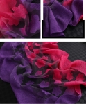 Two- Tone RED and PURPLE ORGANZA SILK Shawl-Only 6 in stock