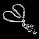 Silver Floating Silver Star Necklace-18 inches