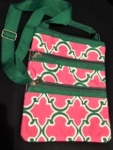 Pink and Green Cross over bag