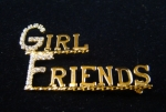 Girlfriends Crystal and Metal Lapel Pin