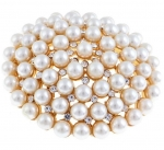 Large Gold Plated Pearl and Crystal Brooch-3 inches