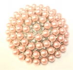 Large Silver Plated Pink Pearl and Crystal Brooch-3 inches