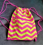 Pink and Green Zig Zag Print Draw String bag- Last Call!