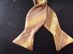 Taupe and Yellow with Black Stripes Microfiber Bow Tie