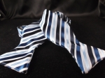 Navy Blue, Light Blue and White Microfiber Diagonal Striped Bow Tie