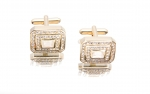 Rectangle Gold and Crystal cufflink